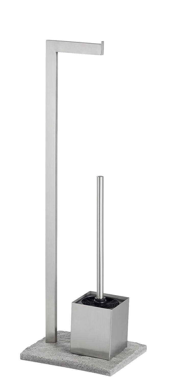 Wenko 20604100 Piantana portarotolo e portascopino Granite, Acciaio inossidabile, 23 x 73.5 x 19.5 cm, Satinato