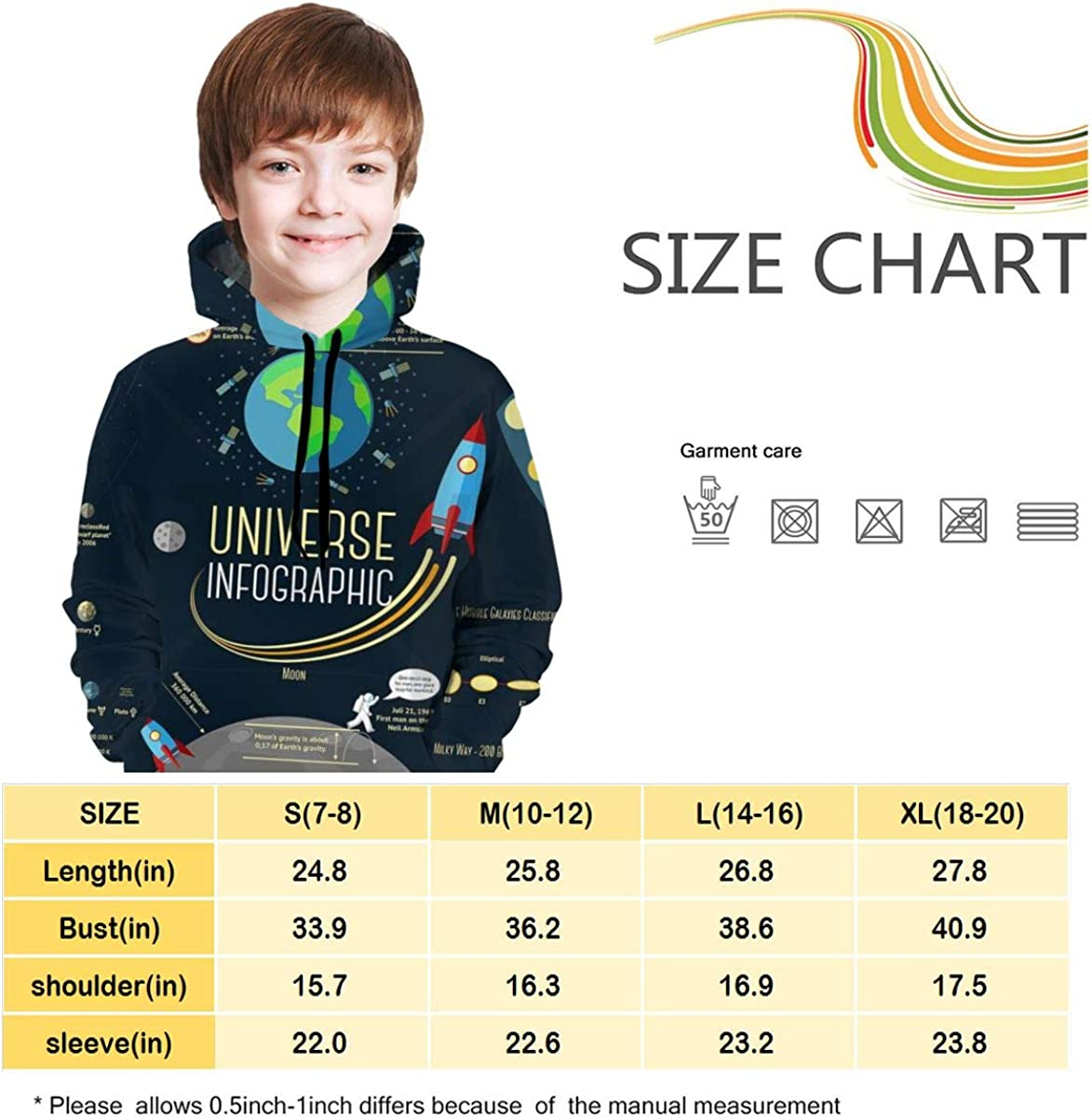 Ts Home Art Universe Infographic Gril Hoodie Sweater Pullover Drawstring Pocket Casual Coat for Kid