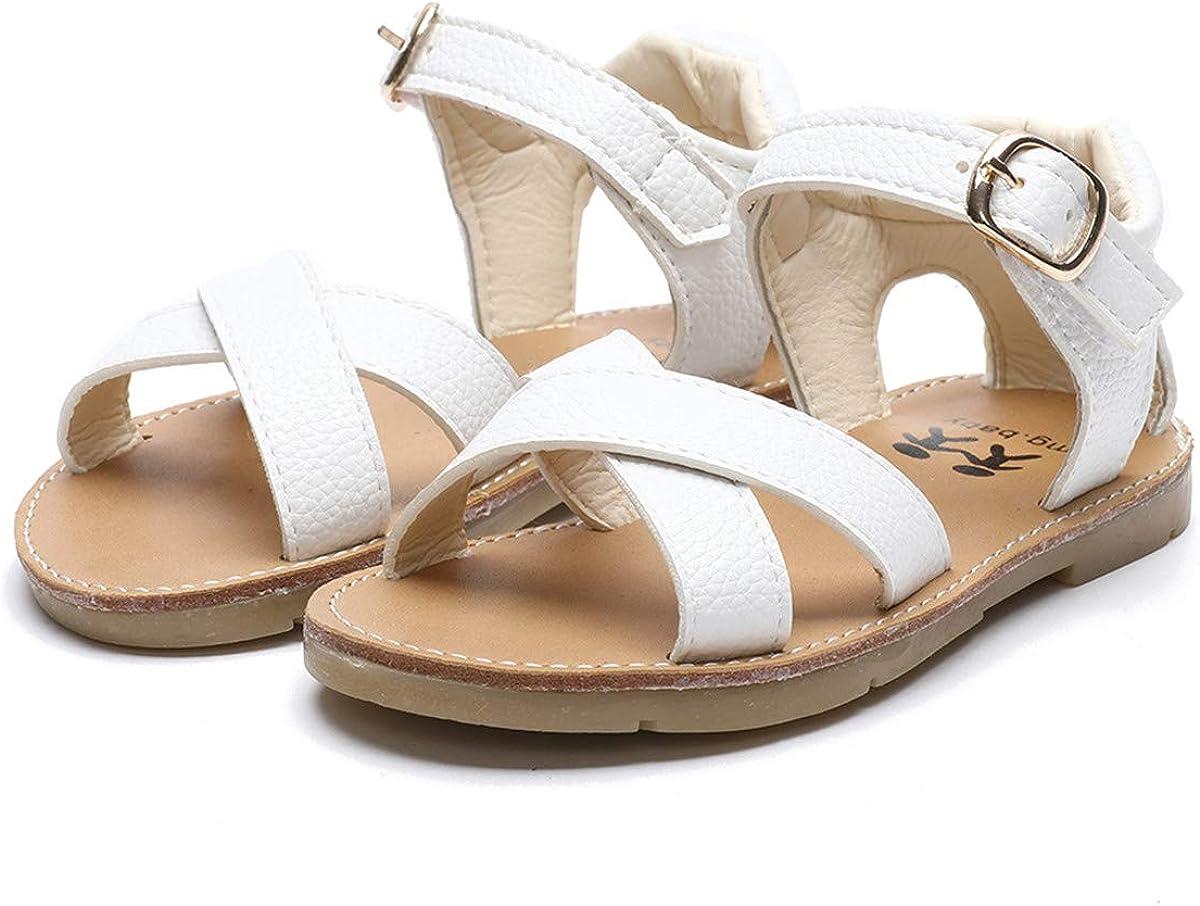 ENERCAKE Toddler Baby Girls Sandals Premium Soft Rubber Sole Anti-Slip School Shoes Little Girls Summer Dress Shoes