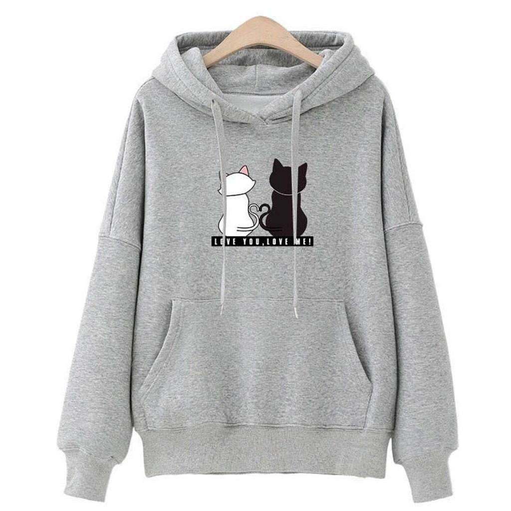 FEDULK Womens Hoodies Pullover Cat Print Jumper Kangaroo Pocket Loose Tunic Sweatshirt(Gray, US Size S = Tag M)