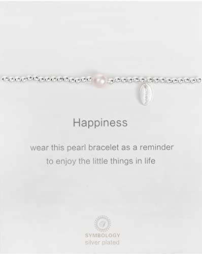 Symbology Silver Sentiment Happiness Bracelet With Pearl Symbol