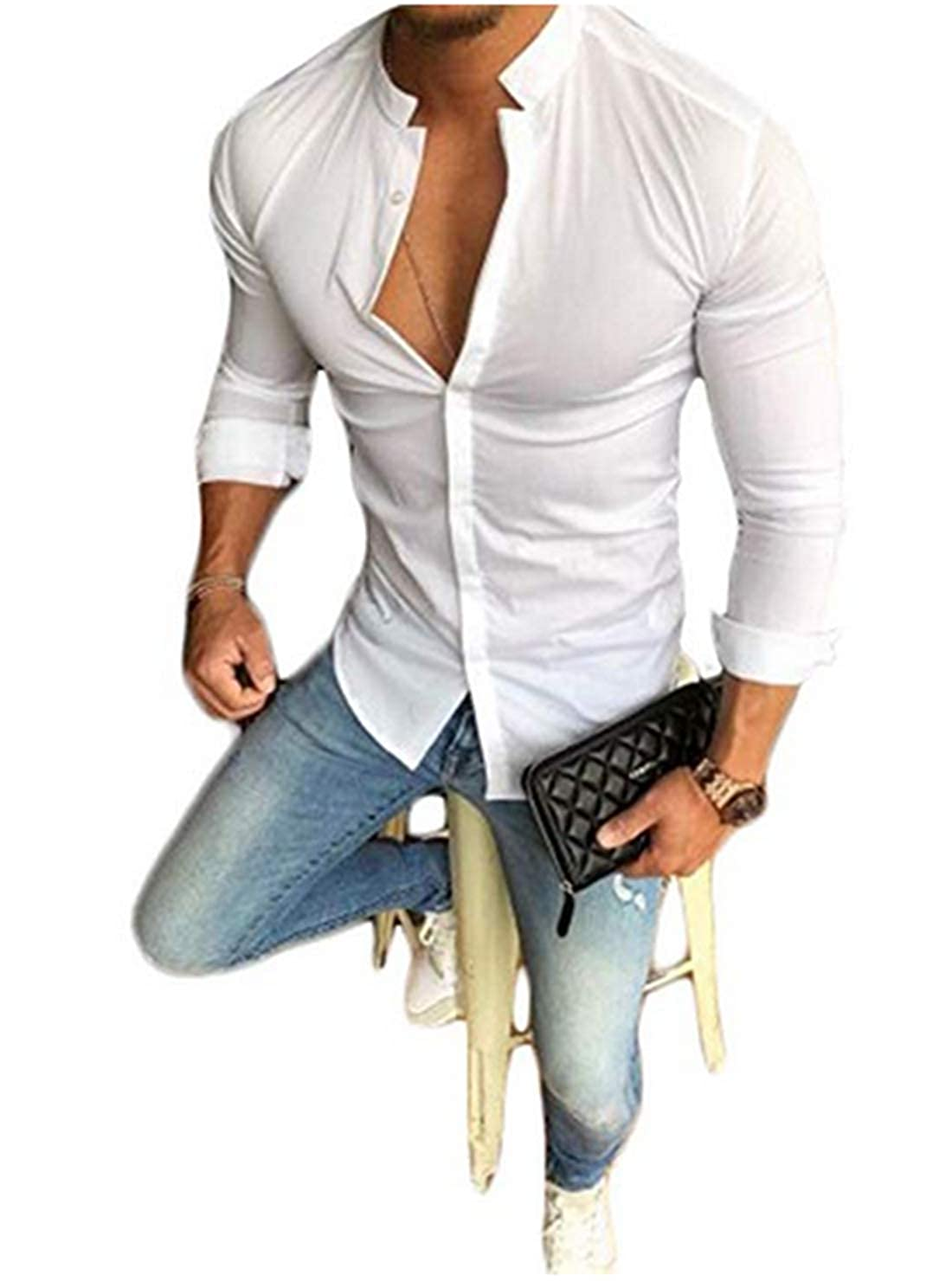 Mens Casual Dress Shirt Button Down Shirts Slim fit Band-Collar Shirt