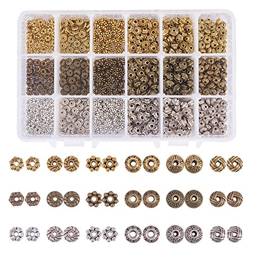 PH PandaHall 900pcs 6 Style Tibetan Alloy Spacer Beads Rondelle Gear Bicone Flower Metal Spacers for Bracelet Necklace Jewelry Making(Antique Silver, Antique Bronze and Golden)
