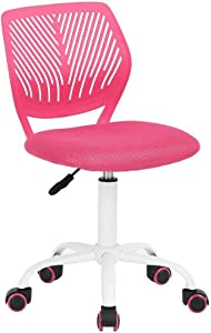 GreenForest Desk Chair for Kids Teens Office Chair with Low Back Armless Adjustable Swivel Chair,Pink