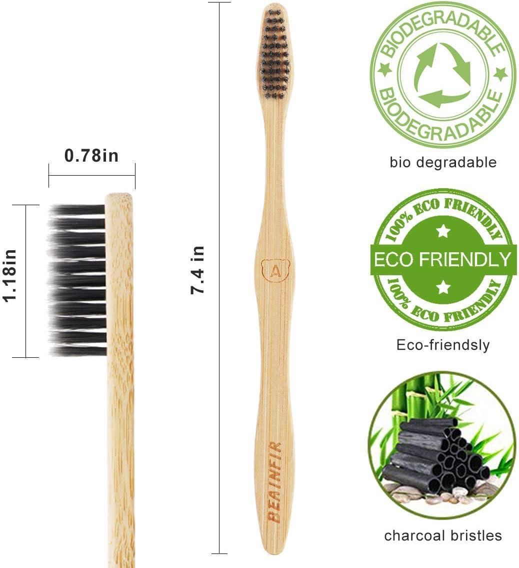 Beainfir - Juego de 10 cepillos de dientes de bambú biodegradables ...