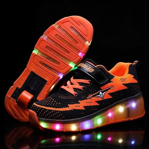 Patines de niños de la carga del USB de la luz LED de las zapatillas de colores parpadeantes sneakers para niños Light up entrenadores principiantes botas rodillos mejor regalo niños Skate ,Orange,M: