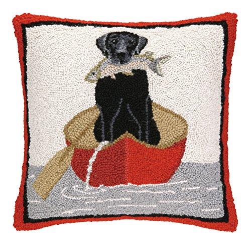 Peking Handicraft Lab Canoe Hook Pillow, 16 by 16-Inch, Black
