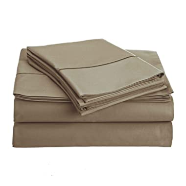 True Luxury 800-Thread Count 100% Egyptian Cotton Sheet 4-Piece Long-staple Egyptian Cotton Best-Bedding Sheets For Bed,Breathable,Soft & Silky Sateen Fits Mattress Upto 18'' Deep Pocket (Queen Taupe)