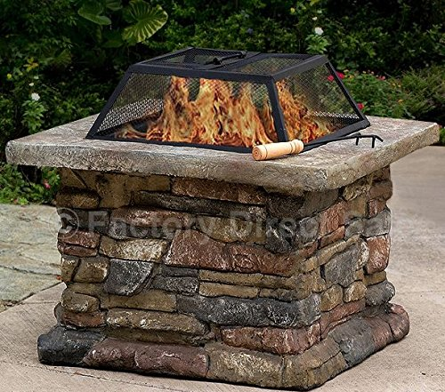 K&A Company Patio Outdoor Fire Pit Firepit Fireplace Heater Backyard Wood Garden Metal Burning Stove Square Cover Steel Bowl Matte Steel Fire Bowl, Stone Base, Spark Screen 29