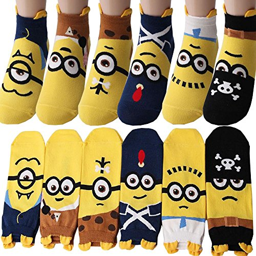 Pack of 6 pairs Despicable Me Minions Cartoon Funny Socks For Women / Teenager / Pre-teens