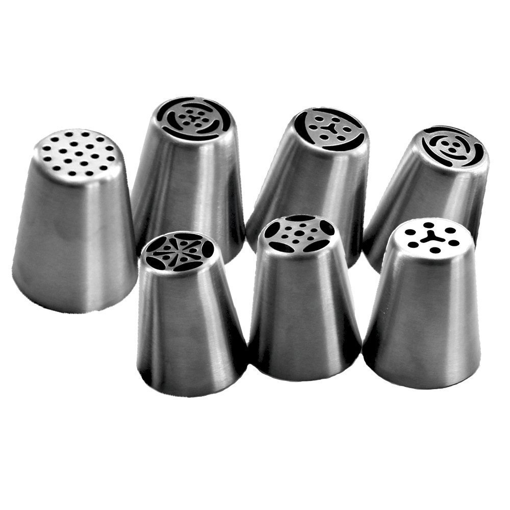 TANGCHU Russian Piping Tips 7 Piece Stainless Steel Large Size Icing Syringe Set, Silver, 3.7cm x 4.3cm