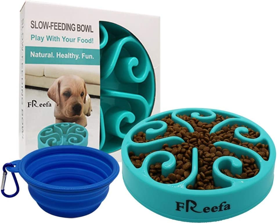 Freefa Slow Feeder Dog Bowl Bloat Stop Dog Food Bowl Maze Interactive Puzzle Non Skid, Come with Free Travel Bowl (Light Blue, for Small/Medium Dog)