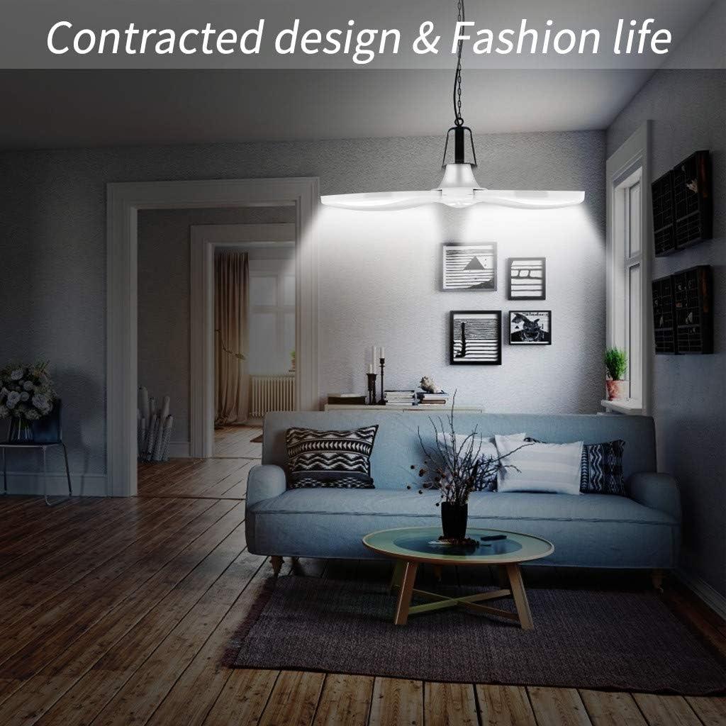 Panzisun LED Garage Light 45W 84LEDs Three-Leaf Folding Lights Deformable Garage Shop Lights Wide Angle Trilight Adjustable Ceiling Light with Base Energy Saving Ultra Bright