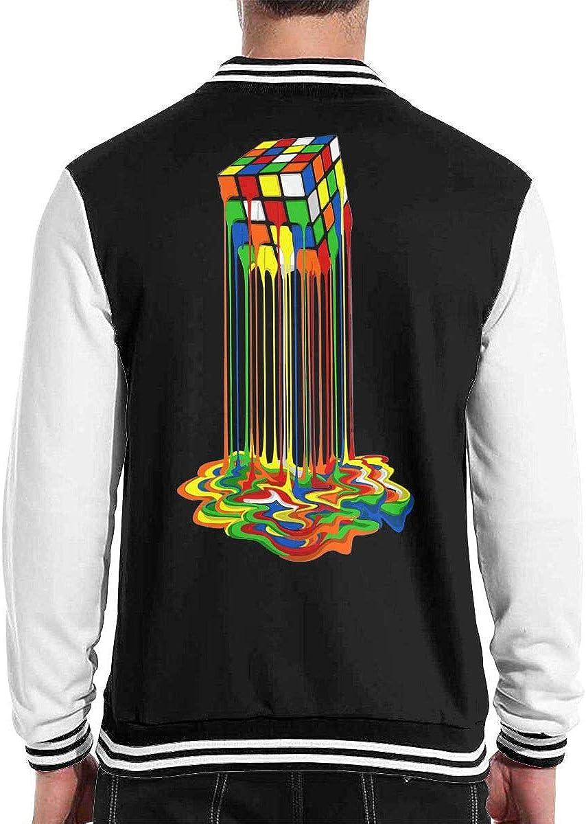 Rainbow Abstraction Melted Rubix Cube Mens Cool Baseball Uniform Jacket Sport Coat