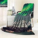 YOYI-HOME Super Soft Duplex Printed Blanket Nature Aurora Above Fjords Magical Nordic Northern Lights Sky Arctic Solar Scenery Jade Green Anti-Static,2 Ply Thick,Hypoallergenic/W39.5'' x H59
