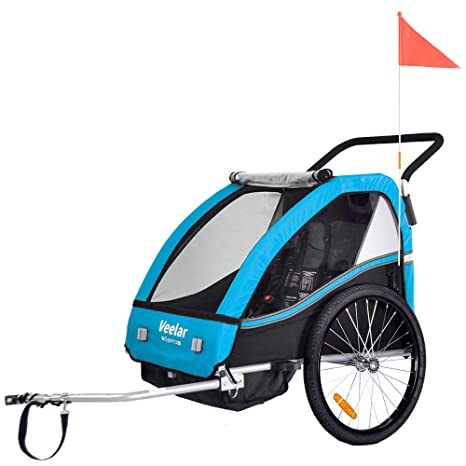 Federung BT603-D04 ORANGE Veelar Sports 2 in 1 Kinderanh/änger Fahrradanh/änger Anh/änger mit Buggy Set