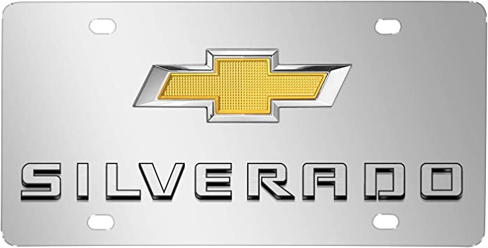 Chevy Silver Bowtie Stainless Steel License Plate