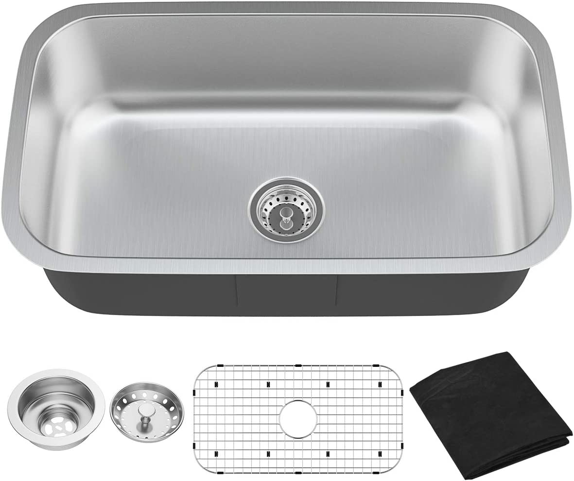 Giantex Single Bowl Kitchen Sink 16 Gauge Stainless Steel Undermount Wash Sink with Metal Tray 9 Deep 31 Lx18.5 Wx9 H