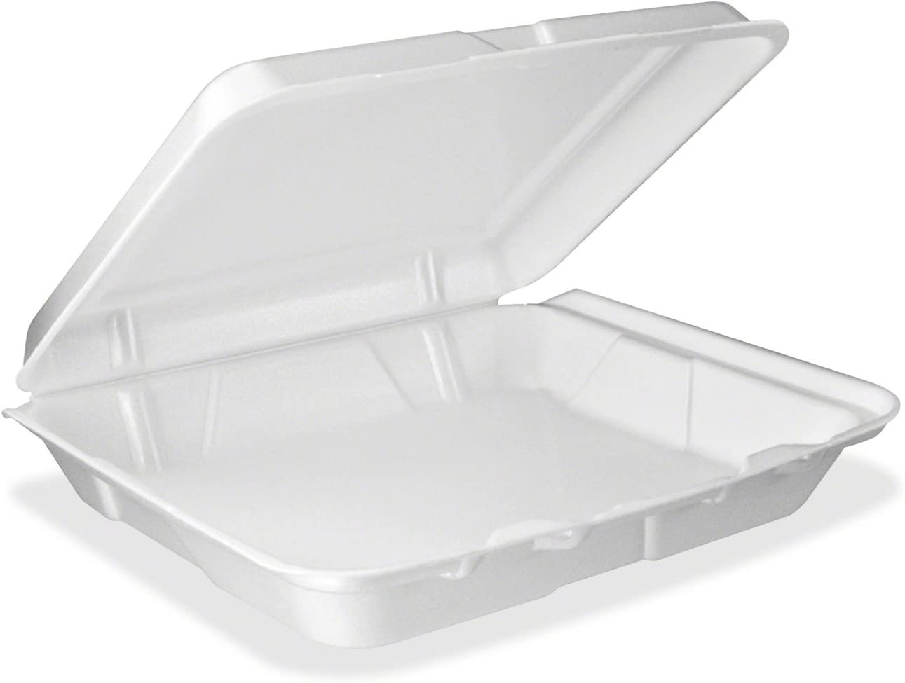 Dart 95HT1, 9x9x3-Inch Performer White Single Compartment Foam Container With A Hinged Lid, Carryout Food Disposable Containers (50)