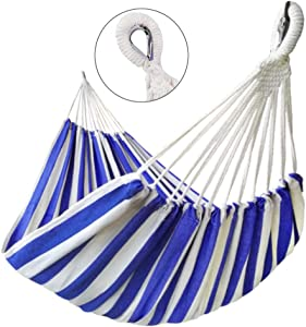 GOCAN Brazilian Double Hammock 2 Person Extra Large Canvas Cotton Hammock for Patio Porch Garden Backyard Lounging Outdoor and Indoor (Blue/White Stripe)
