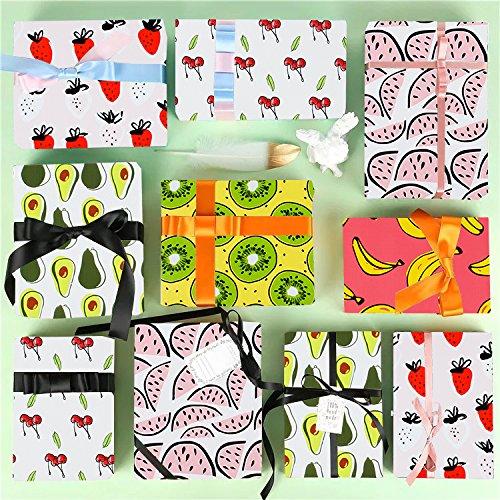 - Cute Fruit Print Banana//Watermelon//Strawberry//Cherry//Avocado//Kiwi 150 Sq Ft LaRibbons Gift Wrapping Paper Roll 6 Rolls