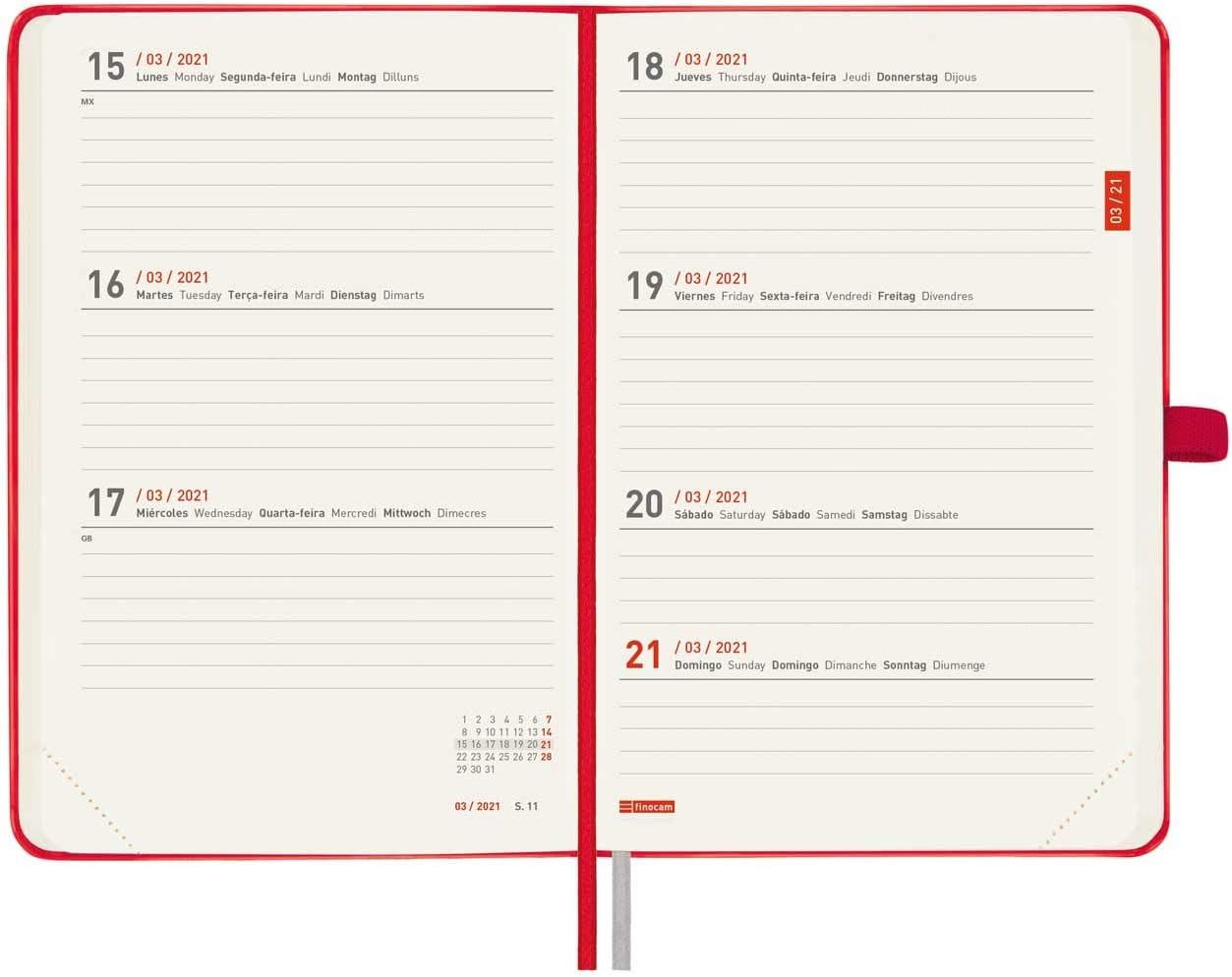 Finocam Agenda 18 Meses 2020-2021 M5-140x190 Semana Vista Apaisada Minimal Travel Rojo Multiling/üe