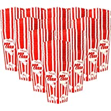 "110 Individual Disposable Popcorn Boxes with Old Fashion Vintage Retro Design with Red and White Colored, Nostalgic Carnival Stripes, A Huge 7.75"" Inches Tall and Hold 46 Oz. by Original Salbree"