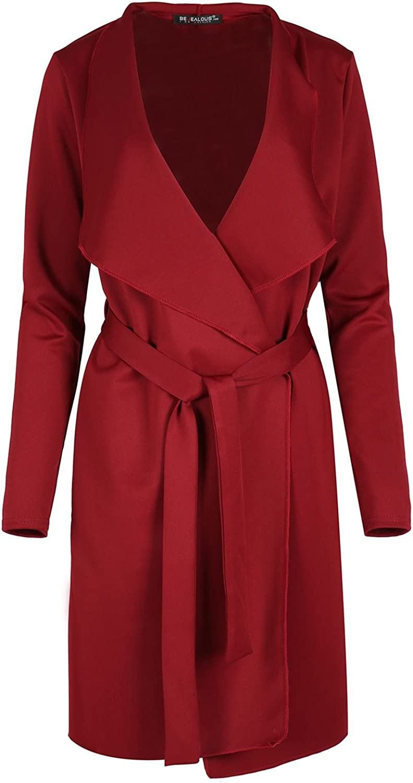 Oops Outlet Womens Waterfall Italian Blazers Ladies Tie Belt Oversized Belted Duster Coat