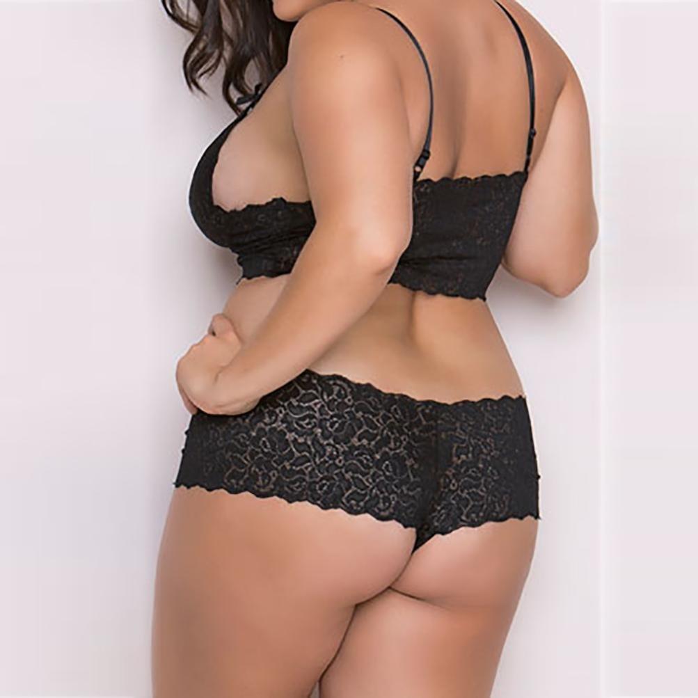 f2d67b5be10 Amazon.com  FUNIC Lingerie Set Women Lingerie Corset Lace Flowers Push up  Top Bra+Briefs Underwear Set Plus Size  Clothing