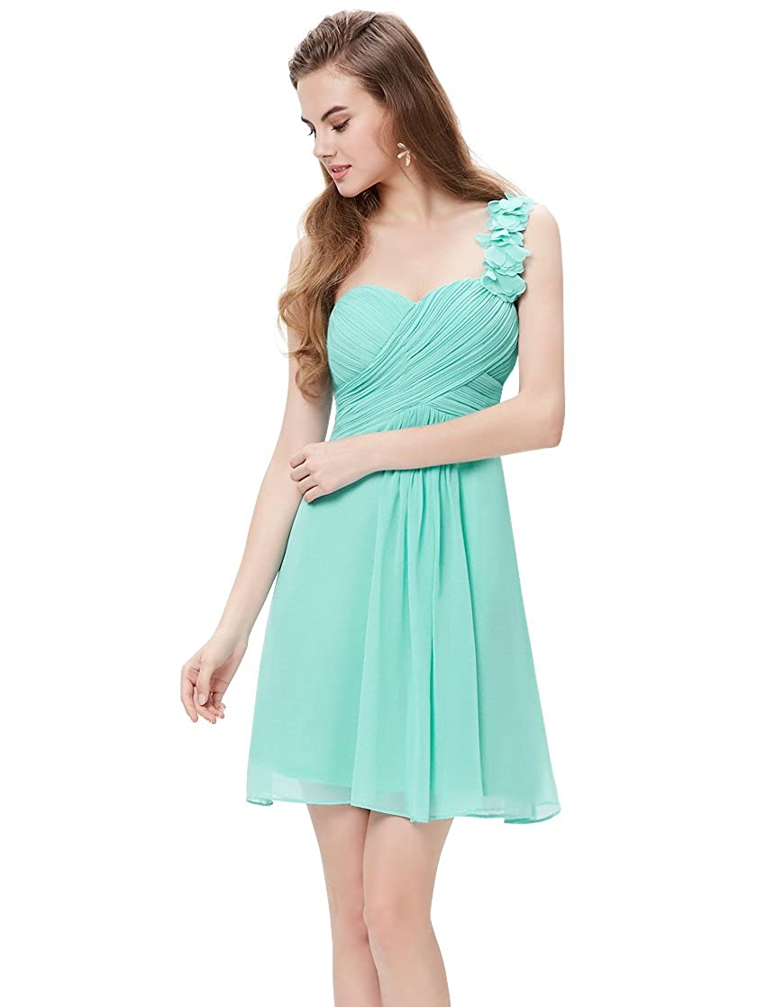 Ever-Pretty One Shoulder Flowers Padded Ruffles Short Bridesmaid ...