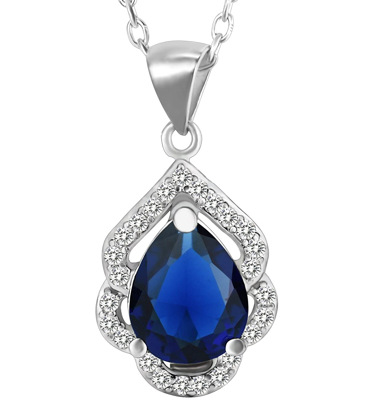 Elensan 925 Sterling Silver Emerald or Sapphire Birthstone Crystal Teardrop Pendant Necklace for Women