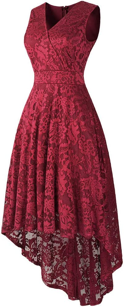 JUTOO damska sukienka koktajlowa w stylu vintage, z koronką, solidna sukienka wiosna, sukienka wieczorowa, na imprezę: Odzież