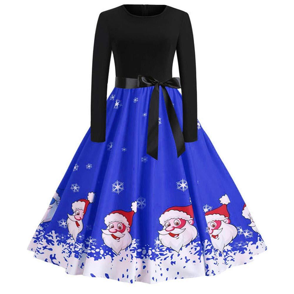 Ghemdilmn Damen Vintage Print Langarm Weihnachts Abend Party Swing Kleid Santa Rentier Christmas Festlich Abendkleider Brautkleid Cocktailkleid Dress Frauen