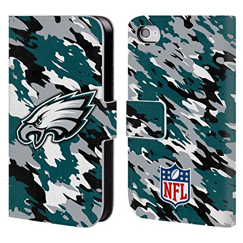 Official NFL Camou Philadelphia Eagles Logo Leather Book Wallet Case Cover For Apple iPhone 4 / 4S