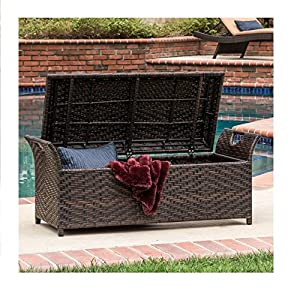 Outdoor Wicker Storage Bench Seat Box by Christopher Knight Home