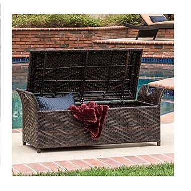 Outdoor Wicker Storage Bench Seat Box