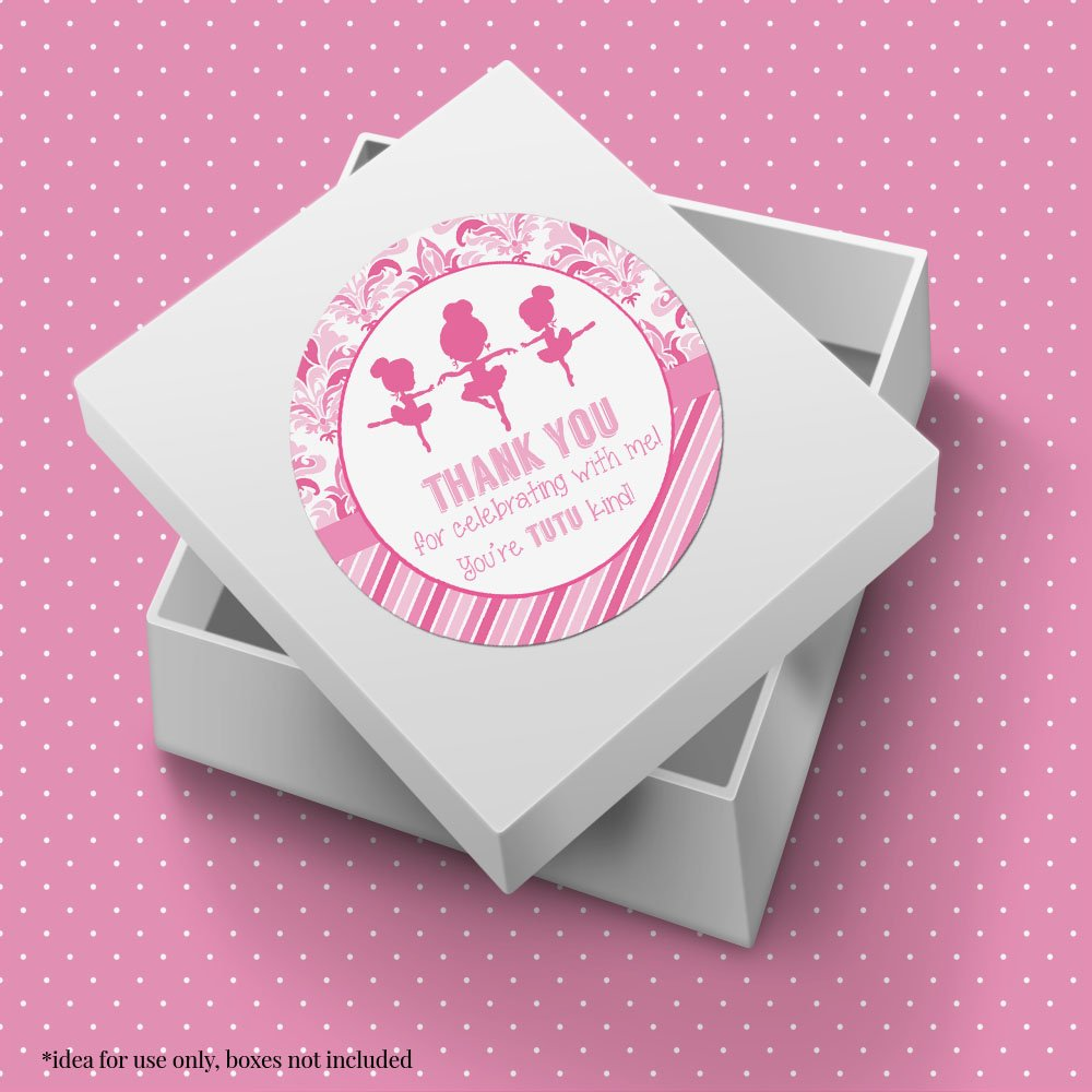 Dance & Twirl Pink Ballerina Thank You Birthday Party Sticker Labels, 20 2'' Party Circle Stickers by AmandaCreation, Great for Party Favors, Envelope Seals & Goodie Bags by Amanda Creation (Image #6)