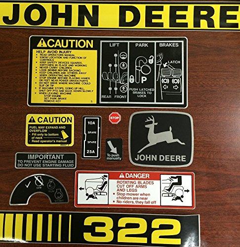 John Deere 322 Lawn and Garden Decal Set