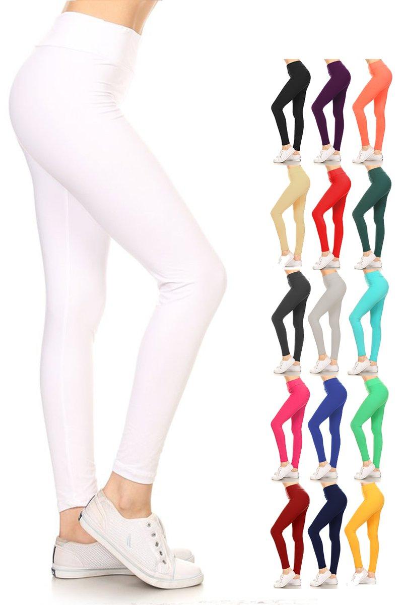 Leggings Depot Yoga Waist REG/Plus Women's Buttery Soft Solid Leggings 16+Colors (One Size (Size 0-12), White)