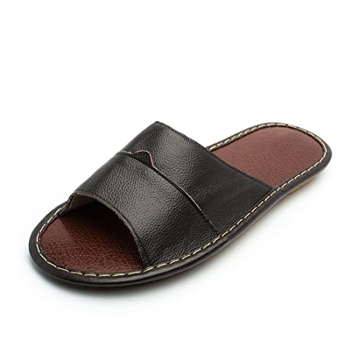 211d926b8d91 Maylian Mens Casual Slippers Leather Open Toes Indoor Flat Slide Sandals  House Shoes Black
