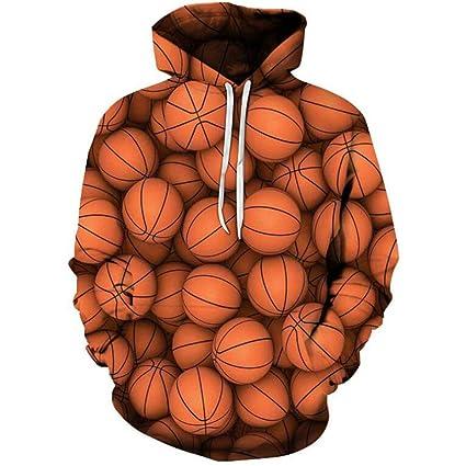 JKYQ Baloncesto Hoja de Arce 3D Imprime Pullover Invierno Sudaderas con Capucha Transpirable Slim Fit Estampado