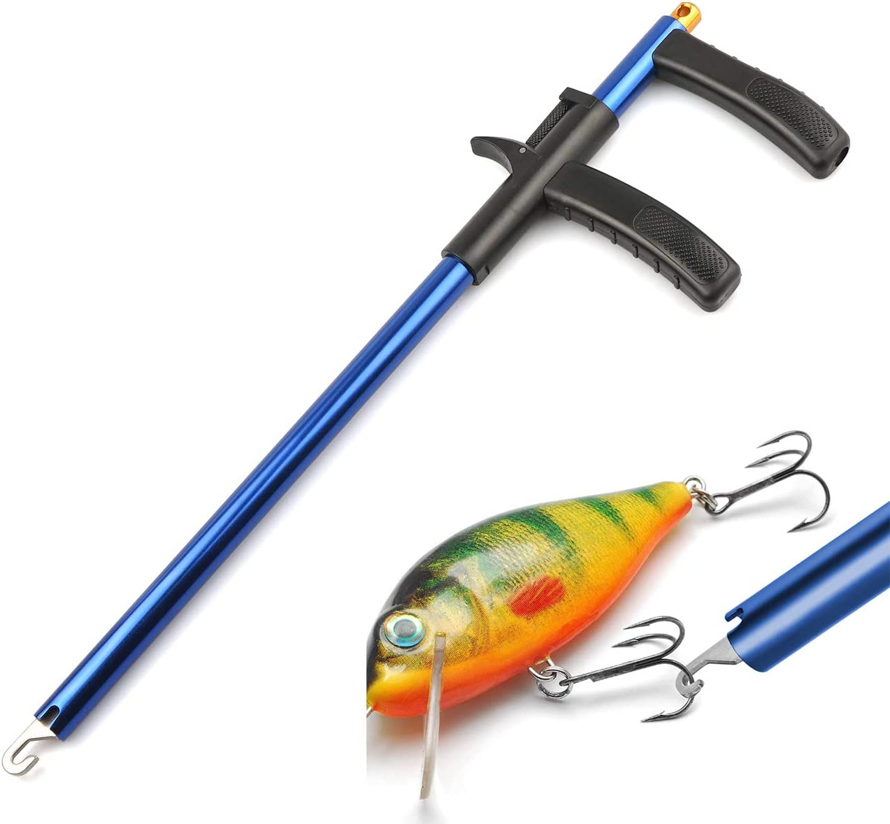 """11.2/"""" Large Easy Fish Hook Remover Puller Lanyard Fishing Tool F-Handle Tackles"""