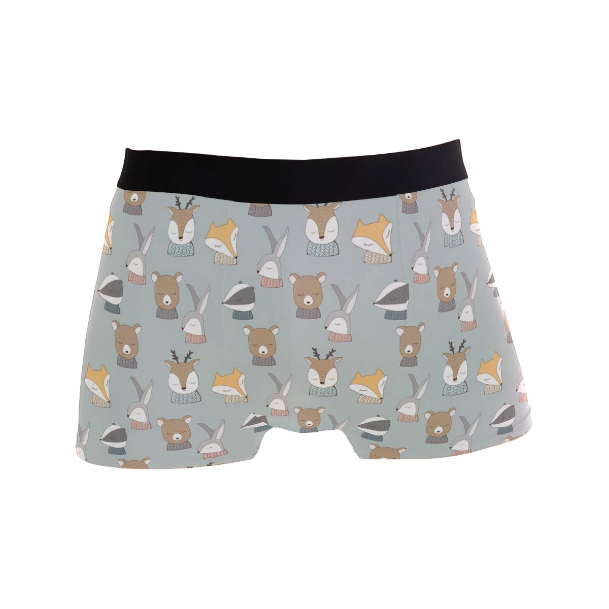 Hibernating Animal Bunny Bear Mens Sport Boxer Brief Breathable Underwear