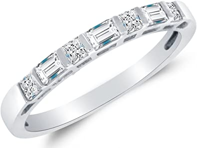 Amazon Com Solid 14k White Gold Princess Cut Baguette Cz Cubic