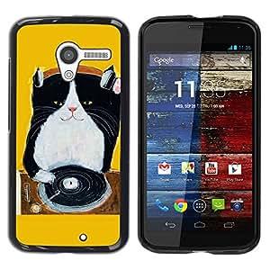 LASTONE PHONE CASE / Carcasa Funda Prima Delgada SLIM Casa Carcasa Funda Case Bandera Cover Armor Shell para Motorola Moto X 1 1st GEN I XT1058 XT1053 XT1052 XT1056 XT1060 XT1055 / Cool Kitten Black Yellow Music Cat