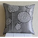 """Grey Decorative Pillow Cover 14 x 14, 3D Metallic Sequins and Beaded Flower Pillows Cover, Throw Pillow Covers 14""""x14"""", Silk Pillows Covers for Couch, Floral Modern Throw Pillow Covers -Silver Ball Bearings"""