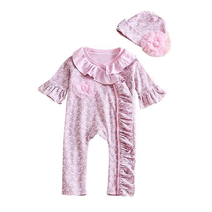 6fd8de52ea0 Amazon.com  Mud Kingdom Baby Girl Ruffle Romper Hat Set  Clothing