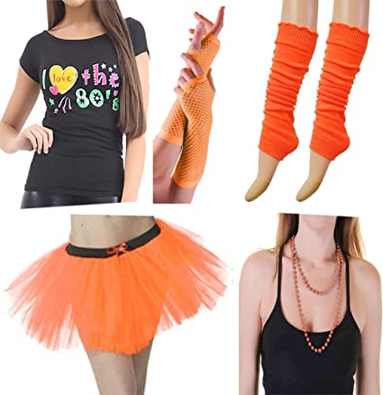Ladies Neon Tutu Tshirt Gloves Leg Warmers Womens 80s Fancy Dress Set Costume