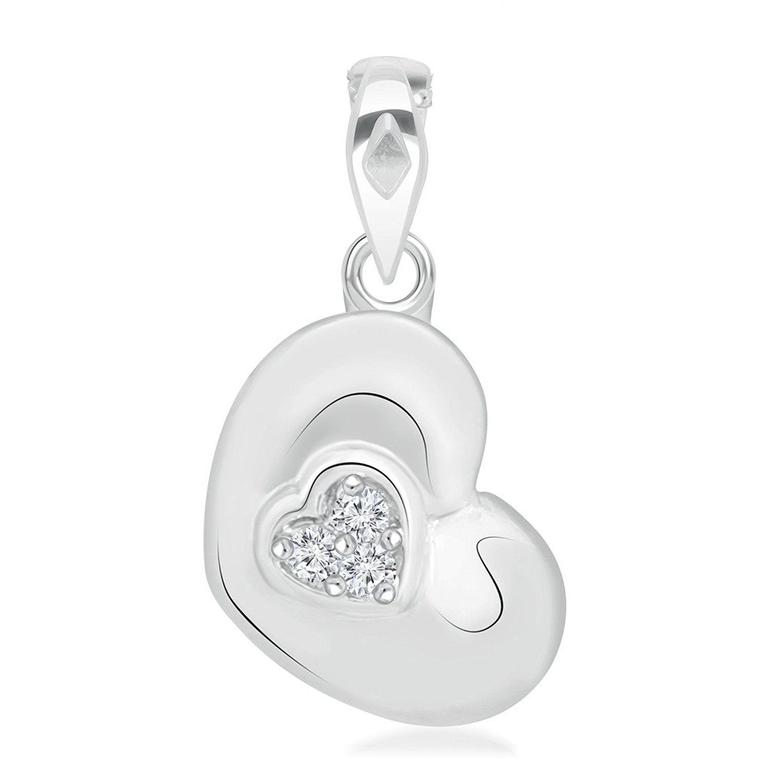ArtLine Jewels Simulated Diamond Studded Love Promise Heart Pendant Necklace in 14K White Gold Plated With Box Chain