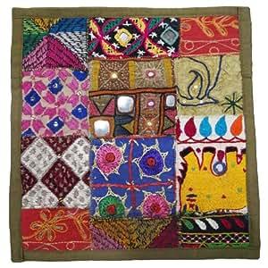 Patchwork 30cm Verde Funda de almohada Escritorio Espejo Throw Cojín bordado Cubierta Indian Art 12 pulgadas